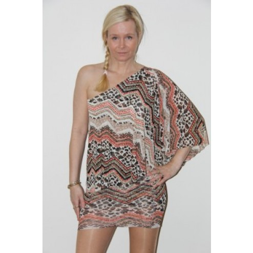 Jacky Luxury tuniekjurk in one-shouldermodel in tribal-print.