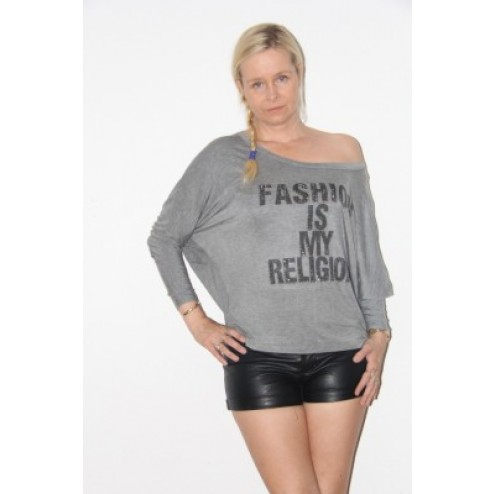Jacky Luxury wijde top in grijs: Fashion is my Religion.