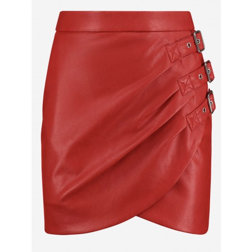 Nikkie N.3-647.2101 Ellis skirt in red leather