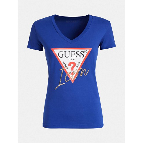 Guess W94I89K7DEO blue Icon tee