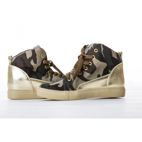 Jacky Luxury sneakers in army met goud.