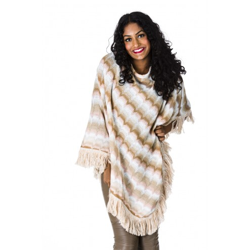 B-loved poncho in creme Missoniprint.