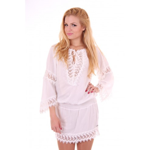 Jacky Luxury Ibiza dress met wit kant