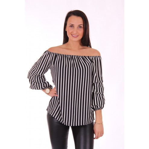 off-shoullder blouse met strepen
