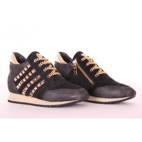 Glamorous wedge sneakers met bont in zwart