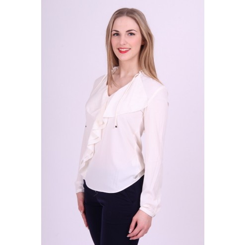 Glamorous blouse Lucky: Ruche blouse in off-white