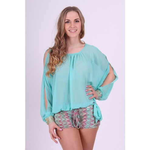 Jacky Luxury tuniek met open mouwen in turquoise.
