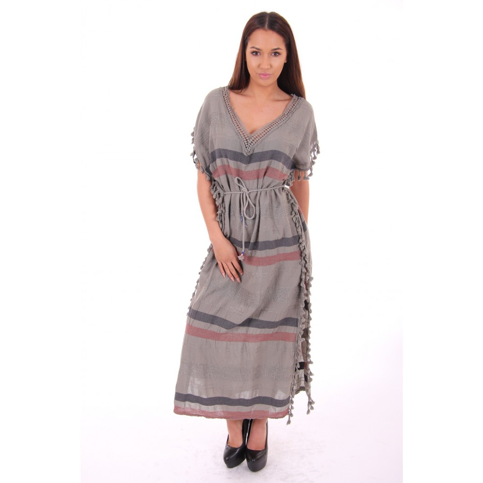 cbb2ca84bd6dc6 Maxi dress met klosjes in army