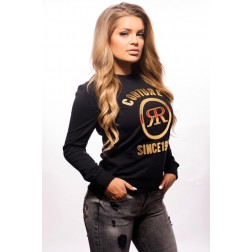 Rich! sweater in zwart - gold logo