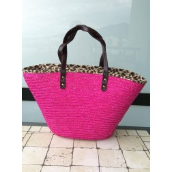 Beachbag in pink met animalprint