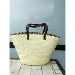 Beachbag in cream: animalprint