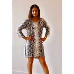Snakeprint sweaterdress in wit