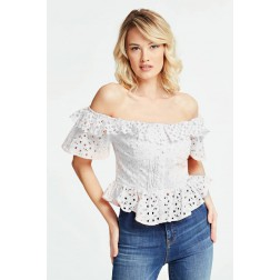 Guess Sotta peplum top in wit kant