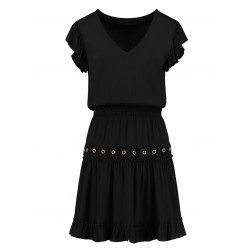 Nikkie Reza dress Met eyelets in zwart