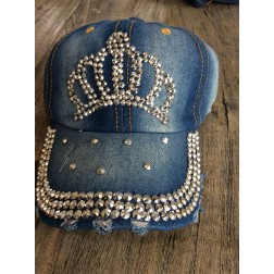 Denim baseball cap. crown, faded denim