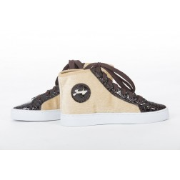 Jacky Luxury sneakers met ponyskin in taupe.