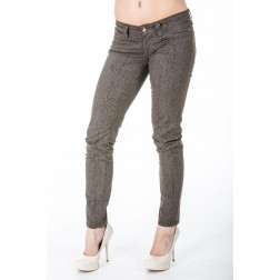 SOS jeans in taupe kleurige animal print.