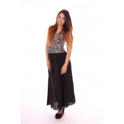 By Danie maxi dress in leopard, black&white
