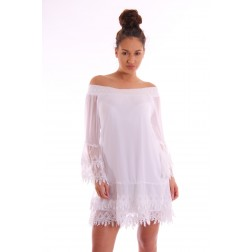 Jacky Luxury off-shoulder jurkje met kant in wit