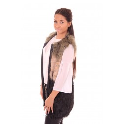 B.loved bontgilet in zwart met taupe en army