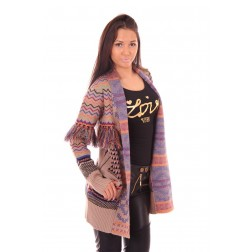 Aztek vest van B.loved in taupe met franjes