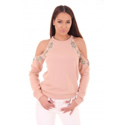 Josh V Livie openshoulder sweater in powder pink