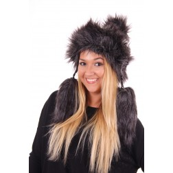 Starling muts met faux-fur en flosjes in antracite