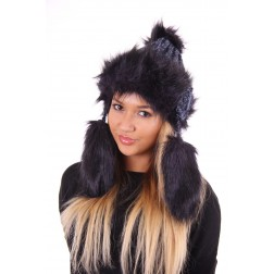 Starling muts met faux-fur en flosjes in navy