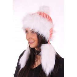 Starling muts met faux-fur en flosjes in orange-white