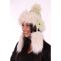 Starling muts met faux-fur en flosjes in lime-cream