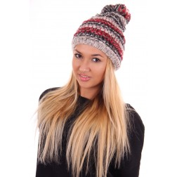 Starling Olivia muts met pompon in red en grey
