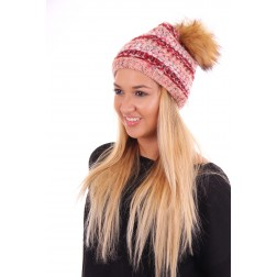 Starling Goldi muts met bontpompon red-pink