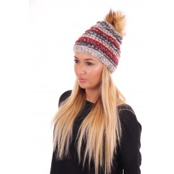 Starling Goldi muts met bontpompon grey-red
