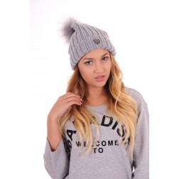 Jacky Luxury muts met bontbolletje in grey