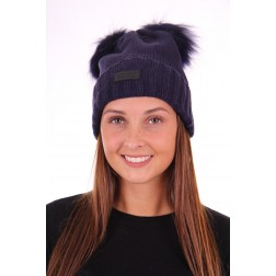 Jacky Luxury muts met 2 bontbolletjes in navy