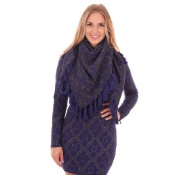 B.loved scarf met klosjes in navy