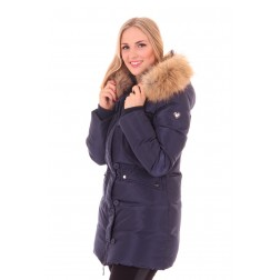 Jacky Luxury winterjas in navy met bont