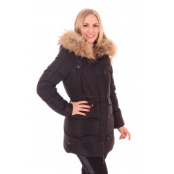 Jacky Luxury winterjas in zwart met bont