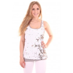 Jacky Luxury top in grey met pailletten