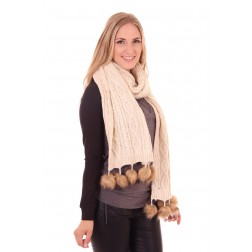 B.loved scarf in cream met bolletjes van bont