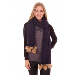 B.loved scarf in navy met bolletjes van bont