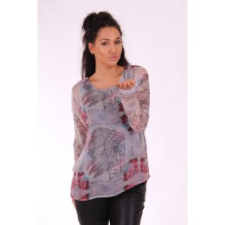 Isla Ibiza blouse INDIAN in grijs