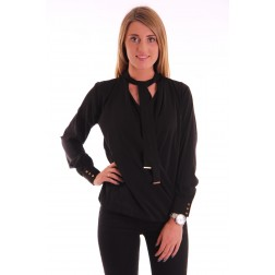 Labee Kane overslag blouse in zwart