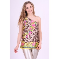 Fracomina one-shoulder top in tropische print