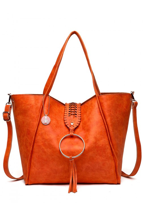 TRC Boho shopper tas met tassel - orange