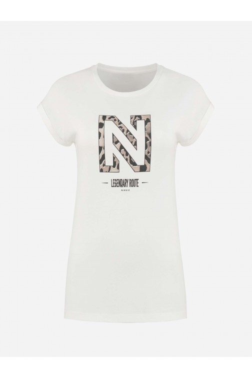 Nikkie Legendary t-shirt in wit - leopard logo