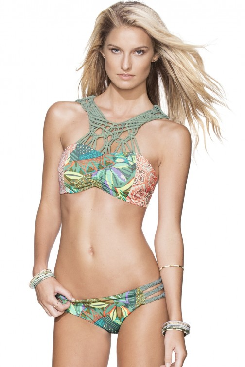 Maaji Lace Valley Cropped Top Bikini in green