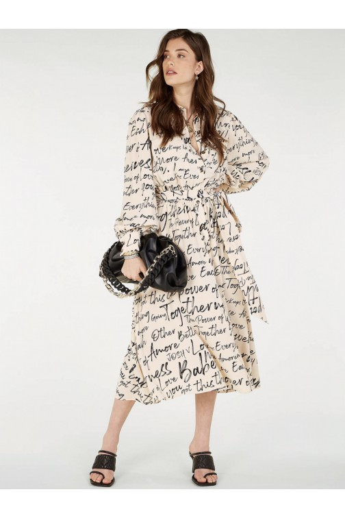 Josh V Gianne midi dress in cream writings