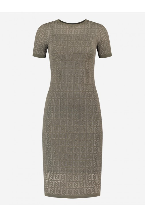 Nikkie N logo midi dress in soft olive