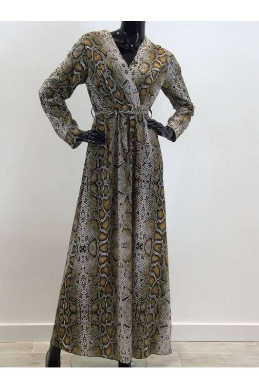 Maxidress in snake print - oker